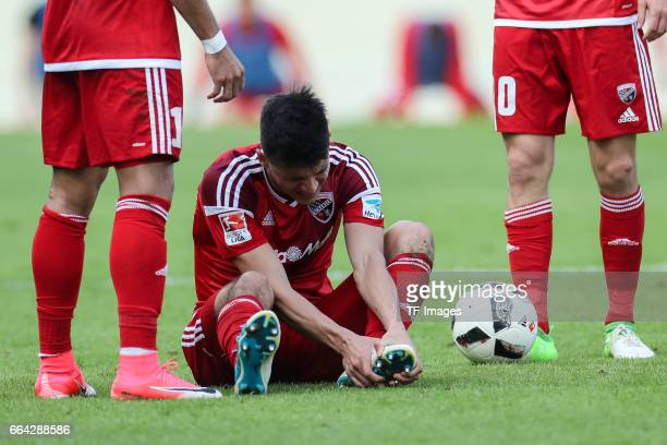 Alfredo Moralesof Ingolstadt on the ground during the Bundesliga match between FC Ingolstadt 04 and 1 FSV Mainz 05 at Audi Sportpark on April 2 2017...