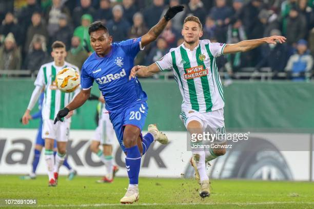 Alfredo Morelos of Rangers and Maximillian Hofmann of Rapid during the UEFA Europa League match between Rapid Wien and Rangers at Weststadion on...