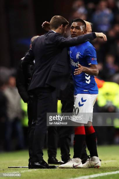 Alfredo Morelos of Rangers and Steven Gerrard Manager of Rangers embrace during the UEFA Europa League Group G match between Rangers and SK Rapid...