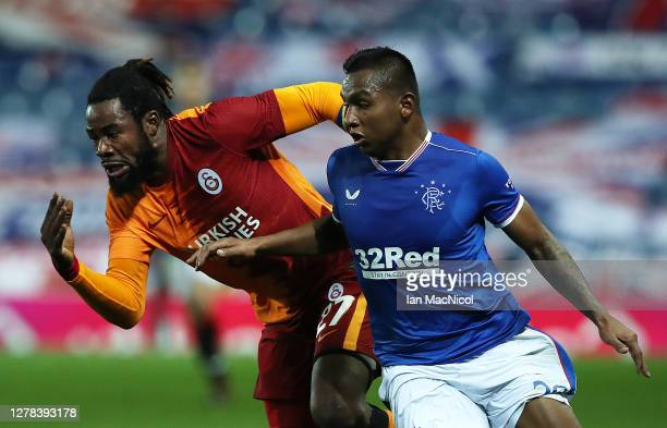 Alfredo Morelos of Rangers battles for possession with Christian Luyindama of Galatasaray during the UEFA Europa League play-off match between...