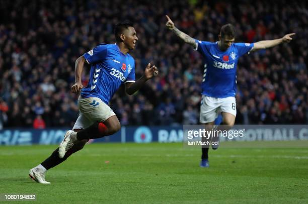 Alfredo Morelos of Rangers celebrates after he scores his team's third goal during the Ladbrokes Scottish Premiership match between Rangers and...