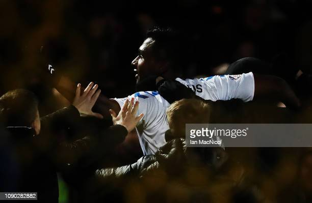 Alfredo Morelos of Rangers celebrates after he scores his team's third goal during the Ladbrokes Premiership match between Livingston and Rangers at...