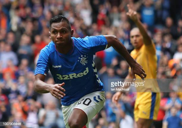 Alfredo Morelos of Rangers celebrates after he scores the opening goal during the PreSeason Friendly match between Rangers and Wigan Athletic at...