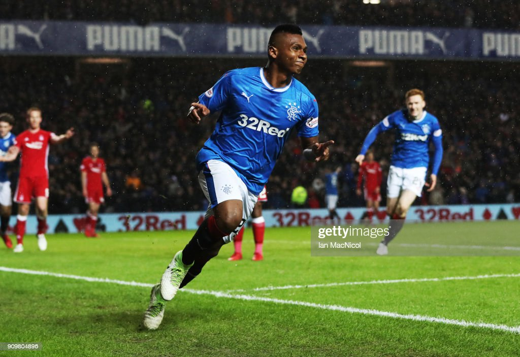 Alfredo Morelos of Rangers celebrates after he scores the opening goal during the Ladbrokes Scottish Premiership match between Rangers and Aberdeen at Ibrox Stadium on January 24, 2018 in Glasgow, Scotland.