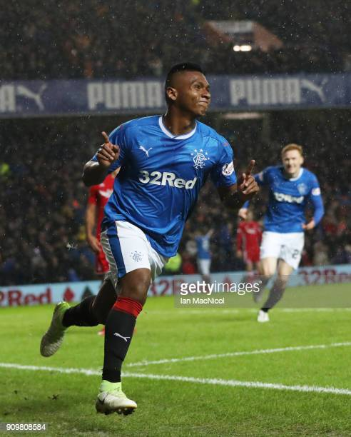 Alfredo Morelos of Rangers celebrates after he scores the opening goal during the Ladbrokes Scottish Premiership match between Rangers and Aberdeen...