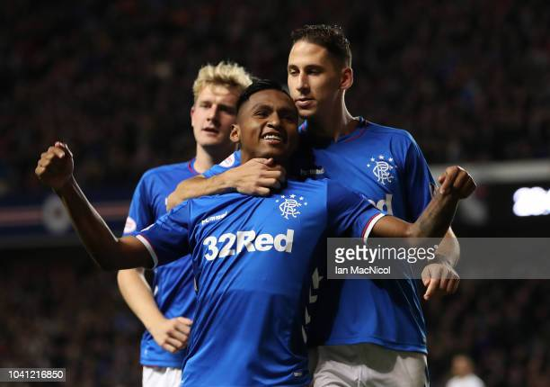 Alfredo Morelos of Rangers celebrates after he scores the third goal of the game during the Betfred Scottish League Cup Quarter Final match between...