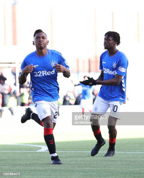 Alfredo Morelos of Rangers celebrates after scores his sides fourth goal during the Scottish Ladbrokes Premiership match between Hamilton Academicals...