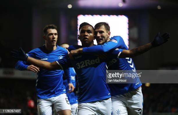 Alfredo Morelos of Rangers celebrates after scores the opening goal during the Scottish Cup 5th Round Replay between Rangers and Kilmarnock at Ibrox...