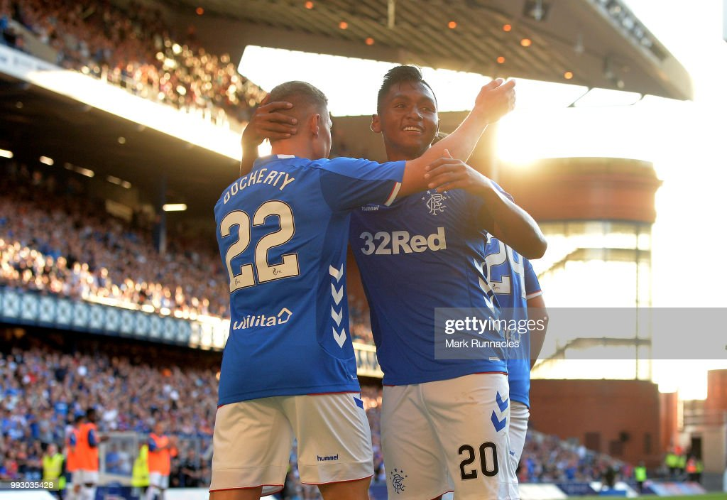 Alfredo Morelos of Rangers celebrates after scoring a goal in the second half of the game during the Pre-Season Friendly between Rangers and Bury at Ibrox Stadium on July 6, 2018 in Glasgow, Scotland.