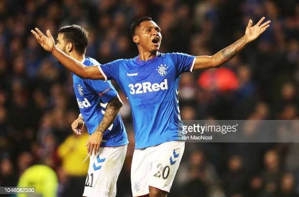 Alfredo Morelos of Rangers celebrates after scoring his second goal during the UEFA Europa League Group G match between Rangers and SK Rapid Wien at...