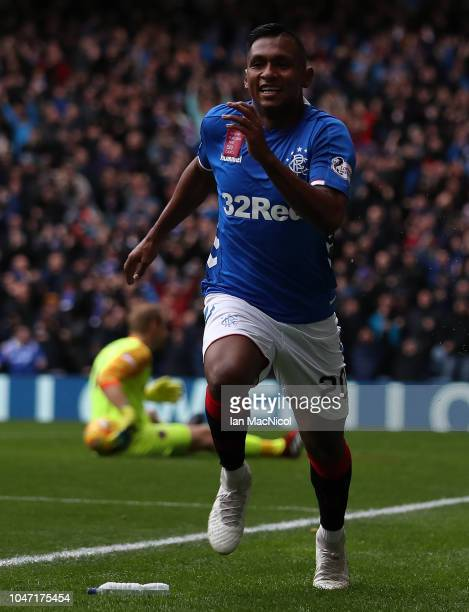 Alfredo Morelos of Rangers celebrates after scoring his side's second goal during the Scottish Ladbrokes Premiership match between Rangers and Hearts...