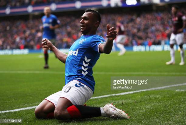 Alfredo Morelos of Rangers celebrates after scoring his team's second goal during the Scottish Ladbrokes Premiership match between Rangers and Hearts...