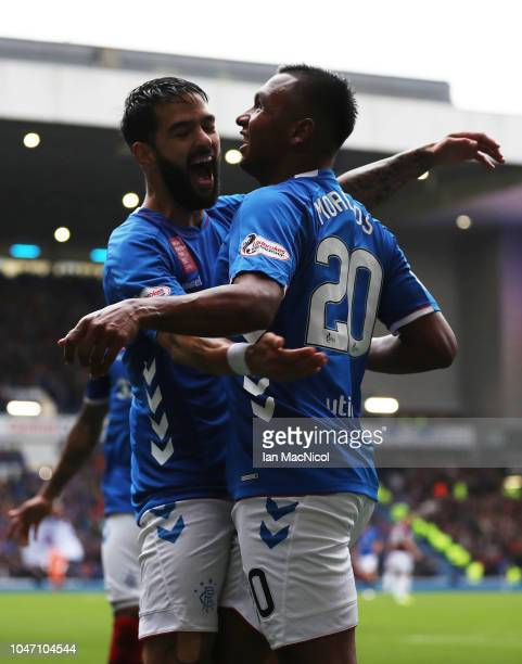 Alfredo Morelos of Rangers celebrates after scoring his team's second goal with team mate Candeias of Rangers during the Scottish Ladbrokes...