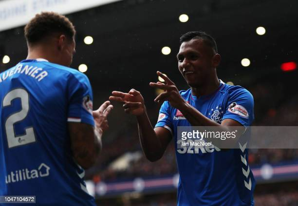 Alfredo Morelos of Rangers celebrates after scoring his team's second goal with team mate James Tavernier of Rangers during the Scottish Ladbrokes...