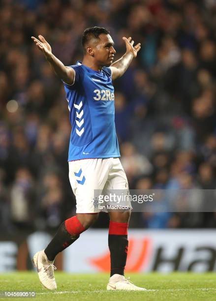 Alfredo Morelos of Rangers celebrates after scoring his team's third goal during the UEFA Europa League Group G match between Rangers and SK Rapid...