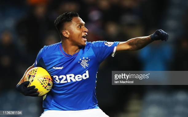 Alfredo Morelos of Rangers celebrates at the final whistle after scoring four goals during the Scottish Cup 5th Round Replay between Rangers and...