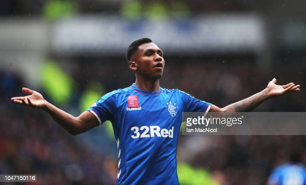 Alfredo Morelos of Rangers celebrates scoring his team's second goal during the Scottish Ladbrokes Premiership match between Rangers and Hearts at...
