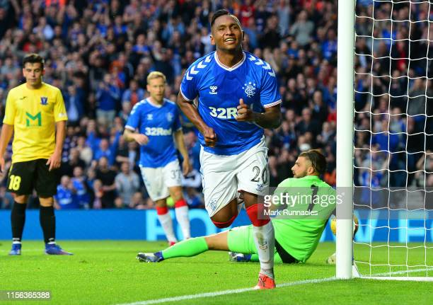Alfredo Morelos of Rangers celebrates scoring his third goal of the game during the UEFA Europa League First Qualifying round 2nd Leg match between...