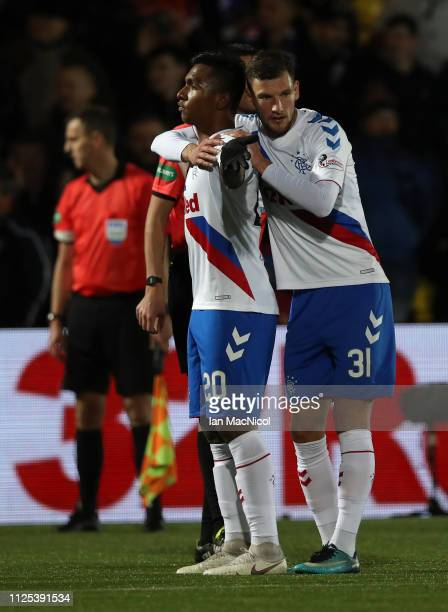 Alfredo Morelos of Rangers celebrates with Borna Barisic as he scores his team's third goal during the Ladbrokes Premiership match between Livingston...