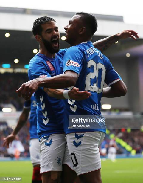 Alfredo Morelos of Rangers celebrates with Candeias after scoring his side's second goal during the Scottish Ladbrokes Premiership match between...