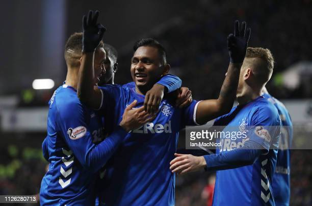 Alfredo Morelos of Rangers celebrates with James Tavernier after scores his third goal during the Scottish Cup 5th Round Replay between Rangers and...