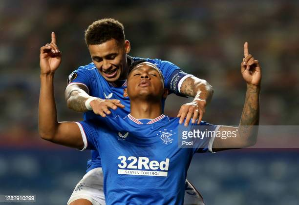 Alfredo Morelos of Rangers celebrates with teammate James Tavernier after scoring his team's first goal during the UEFA Europa League Group D stage...