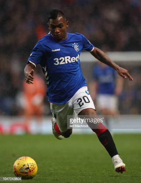 Alfredo Morelos of Rangers controls the ball during the Scottish Ladbrokes Premiership match between Rangers and Hearts at Ibrox Stadium on October 7...