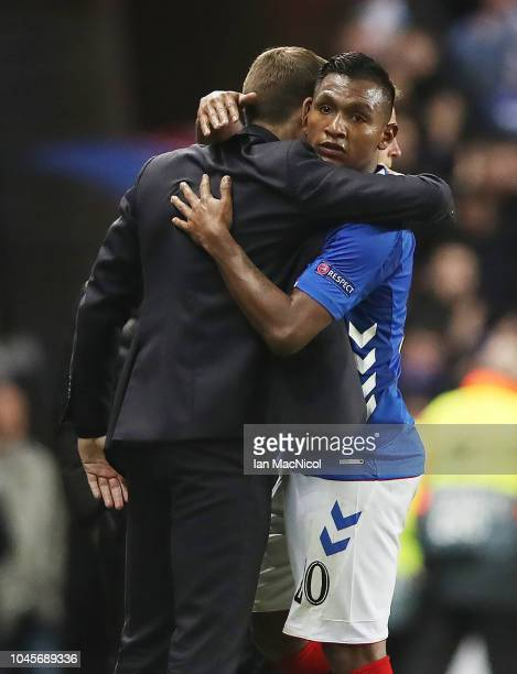 Alfredo Morelos of Rangers embraces Rangers manager Steven Gerrard during the UEFA Europa League Group G match between Rangers and SK Rapid Wien at...
