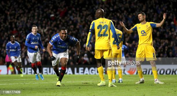 Alfredo Morelos of Rangers FC celebrates after scoring his team's first goal during the UEFA Europa League group G match between Rangers FC and FC...