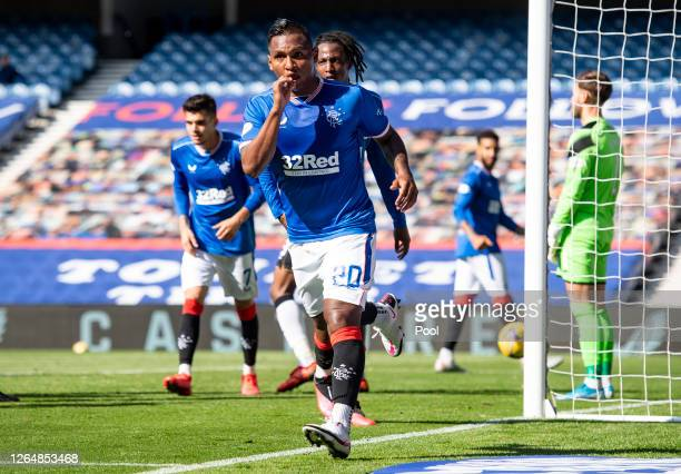 Alfredo Morelos of Rangers FC celebrates after scoring his team's second goal during the Ladbrokes Scottish Premiership match between Rangers FC and...