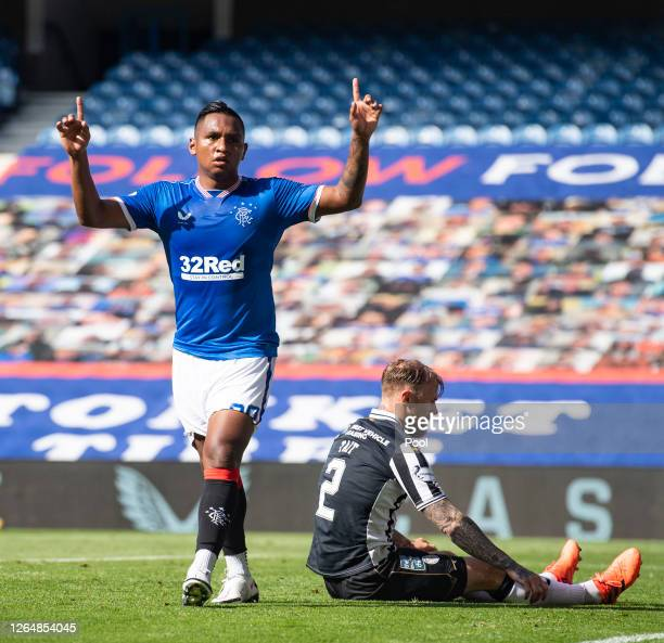 Alfredo Morelos of Rangers FC celebrates after scoring his team's third goal during the Ladbrokes Scottish Premiership match between Rangers FC and...
