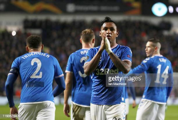 Alfredo Morelos of Rangers FC celebrates with teammates after scoring his team's first goal during the UEFA Europa League group G match between...