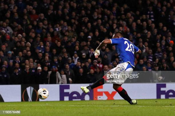 Alfredo Morelos of Rangers FC scores his team's first goal during the UEFA Europa League group G match between Rangers FC and BSC Young Boys at Ibrox...