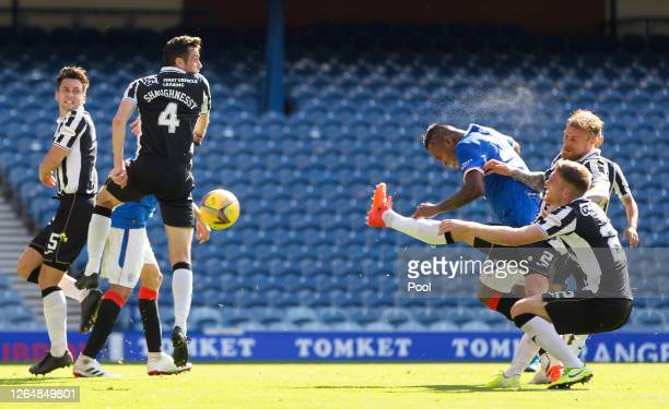 Alfredo Morelos of Rangers FC scores his team's second goal during the Ladbrokes Scottish Premiership match between Rangers FC and St. Mirren at...