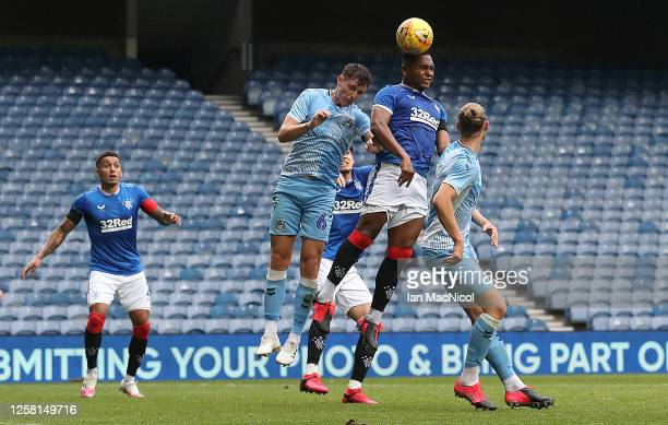 Alfredo Morelos of Rangers heads at goal during the pre season friendly match between Rangers and Coventry City at Ibrox Stadium on July 25 2020 in...
