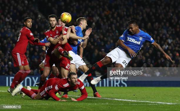 Alfredo Morelos of Rangers heads at goal during the Scottish Ladbrokes Premiership match between Rangers and Aberdeen at Ibrox Stadium on December 5...