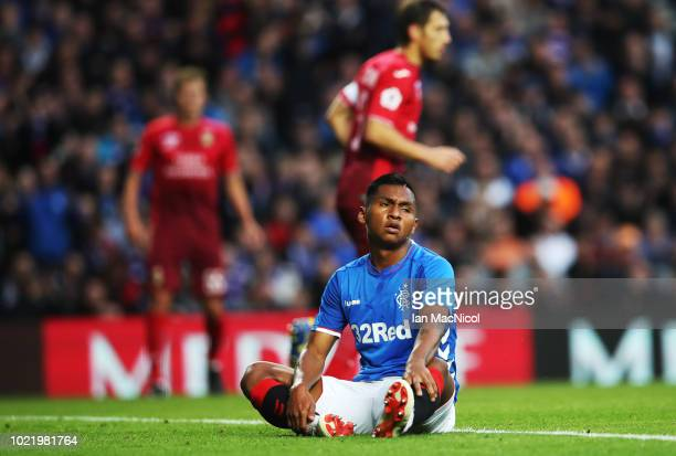 Alfredo Morelos of Rangers is seen during the first leg of the UEFA Europa League Play Off match between Rangers and FC Ufa at Ibrox Stadium on...
