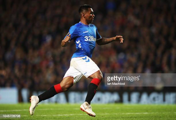Alfredo Morelos of Rangers is seen during the UEFA Europa League Group G match between Rangers and SK Rapid Wien at Ibrox Stadium on October 4 2018...