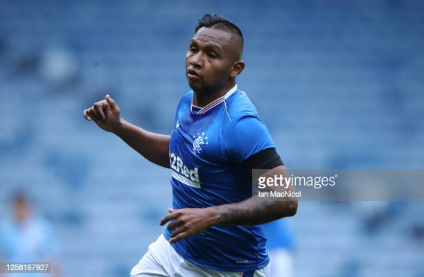 Alfredo Morelos of Rangers is seen in action during the pre season friendly match between Rangers and Coventry City at Ibrox Stadium on July 25 2020...