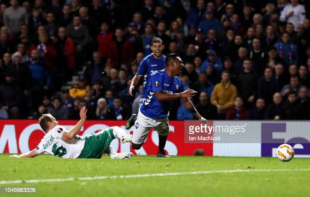 Alfredo Morelos of Rangers is tackled by Mario Sonnleitner of Rapid Vienna during the UEFA Europa League Group G match between Rangers and SK Rapid...
