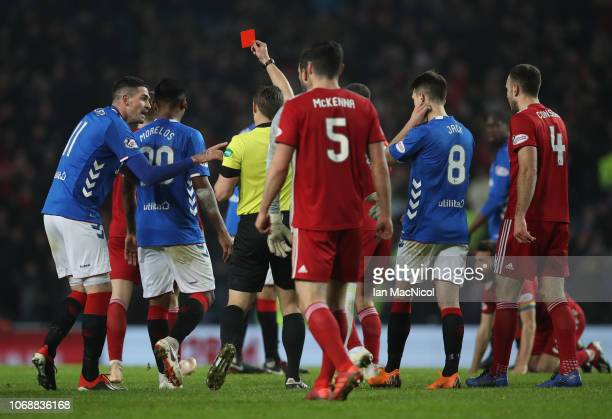 Alfredo Morelos of Rangers leaves the field after a second yellow card then a red during the Scottish Ladbrokes Premiership match between Rangers and...