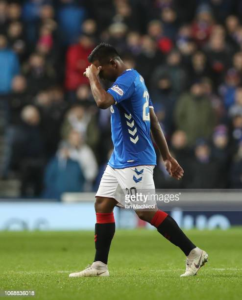 Alfredo Morelos of Rangers leaves the field after a second yellow card during the Scottish Ladbrokes Premiership match between Rangers and Aberdeen...