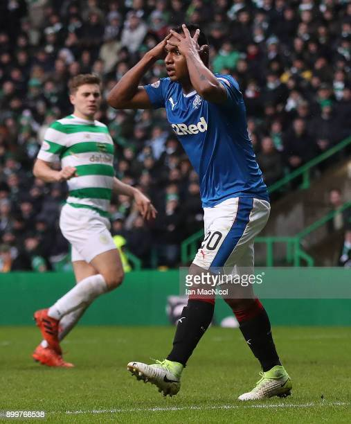 Alfredo Morelos of Rangers reacts after Craig Gordon of Celtic saves his header during the Scottish Premier League match between Celtic and Ranger at...