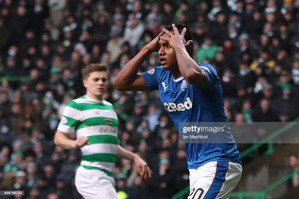 Alfredo Morelos of Rangers reacts after Craig Gordon of Celtic saves his header during the Scottish Premier League match between Celtic and Ranger at Celtic Park on December 30, 2017 in Glasgow, Scotland.