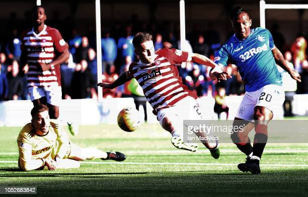 Alfredo Morelos of Rangers scores his sides fourth goal during the Scottish Ladbrokes Premiership match between Hamilton Academicals and Rangers at...