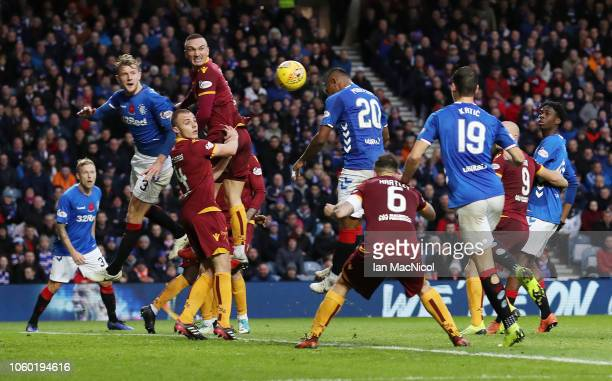 Alfredo Morelos of Rangers scores his team's third goal during the Ladbrokes Scottish Premiership match between Rangers and Motherwell at Ibrox...