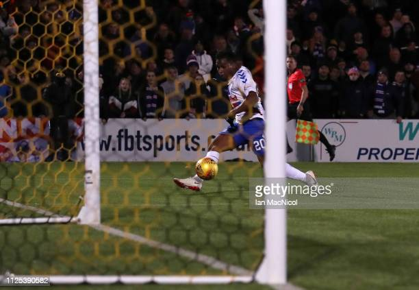 Alfredo Morelos of Rangers scores his team's third goal during the Ladbrokes Premiership match between Livingston and Rangers at Tony Macaroni Arena...