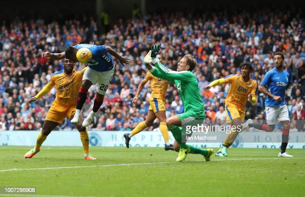Alfredo Morelos of Rangers scores the opening goal during the PreSeason Friendly match between Rangers and Wigan Athletic at Ibrox Stadium on July 29...