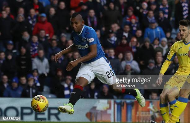 Alfredo Morelos of Rangers scores the opening goal during the Ladbrokes Scottish Premiership match between Rangers and St Johnstone at Ibrox Stadium...