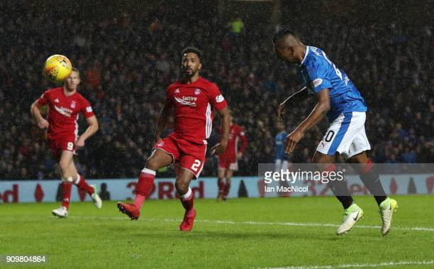 Alfredo Morelos of Rangers scores the opening goal during the Ladbrokes Scottish Premiership match between Rangers and Aberdeen at Ibrox Stadium on...